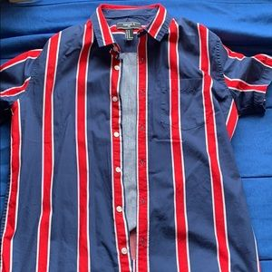 Striped Button Up shortsleeve. NEVER BEEN WORN